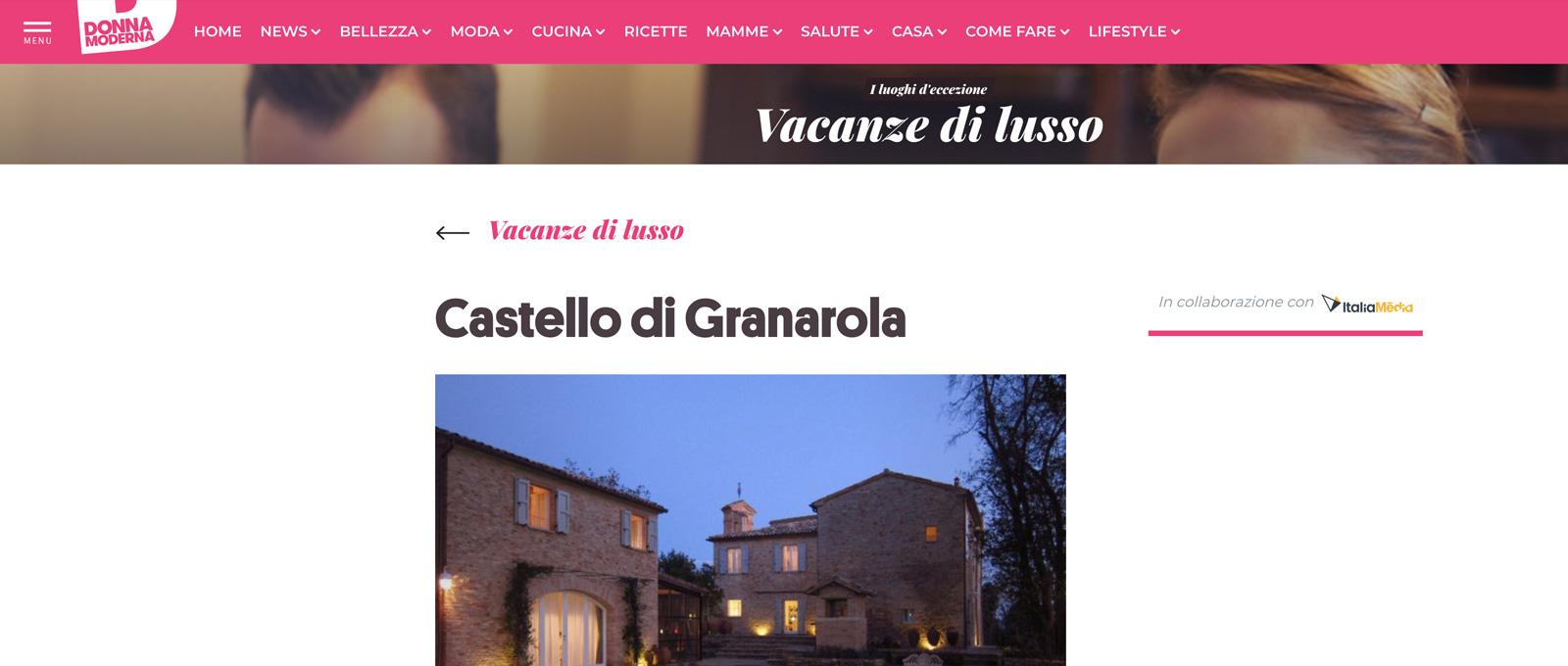 IL CASTELLO DI GRANAROLA SU DONNA MODERNA